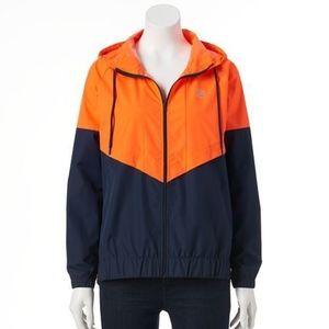 FILA Orange and Navy Hooded Full Zip Windbreaker